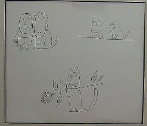 Saul Steinberg - Cat & Dogs - Black & White Print